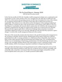The Fee-based Summer 2010 Semi-annual Report