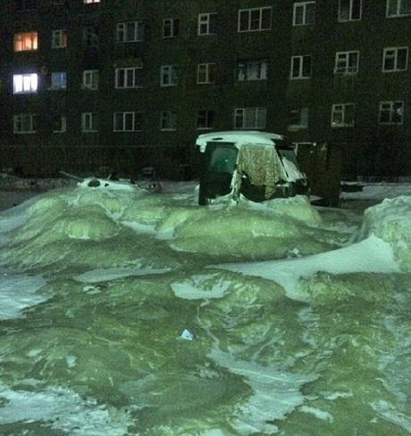 4 feet of ice on Siberian street